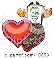 Clipart Picture Of A Paper Mascot Cartoon Character With An Open Box Of Valentines Day Chocolate Candies