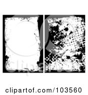Royalty Free RF Clipart Illustration Of A Digital Collage Of Two Black Grungy Splatter Borders by michaeltravers
