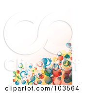 Royalty Free RF Clipart Illustration Of A Background Of Colorful Floating Bubbles In A Corner Over Off White by michaeltravers