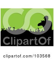 Royalty Free RF Clipart Illustration Of A Male Singer Silhouetted Over A Crowd On Green by michaeltravers