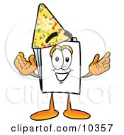 Clipart Picture Of A Paper Mascot Cartoon Character Wearing A Birthday Party Hat