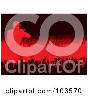 Royalty Free RF Clipart Illustration Of A Grungy Red Singer And Crowd On Black by michaeltravers