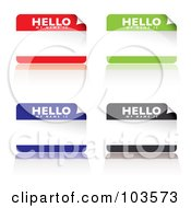 Royalty Free RF Clipart Illustration Of A Digital Collage Of Red Green Blue And Black Name Tag Stickers by michaeltravers
