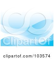 Royalty Free RF Clipart Illustration Of A Smooth Blue Ocean Wave Background by michaeltravers
