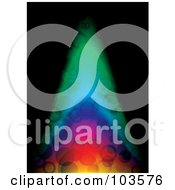 Royalty Free RF Clipart Illustration Of A Bubbly Rainbow Colored Flame Over Black by michaeltravers