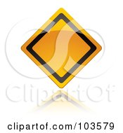Royalty Free RF Clipart Illustration Of A Shiny Black And Yellow Blank Warning Sign by michaeltravers