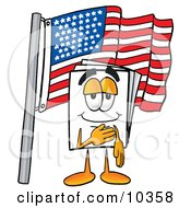 Clipart Picture Of A Paper Mascot Cartoon Character Pledging Allegiance To An American Flag