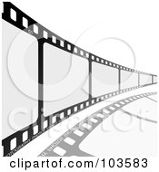 Royalty Free RF Clipart Illustration Of A Film Strip Leading To The Right by michaeltravers