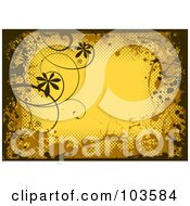 Royalty Free RF Clipart Illustration Of A Grungy Yellow Background Bordered In Black And Brown Grungy Splatters Halftone And Vines by michaeltravers