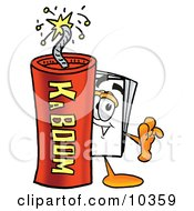 Clipart Picture Of A Paper Mascot Cartoon Character Standing With A Lit Stick Of Dynamite