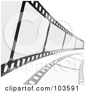 Royalty Free RF Clipart Illustration Of A Film Strip Curving To The Right by michaeltravers