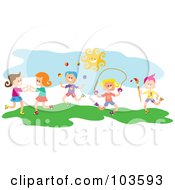 Royalty Free RF Clipart Illustration Of Square Head Children Playing Outside by Prawny
