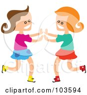 Royalty Free RF Clipart Illustration Of Square Head Girls Playing Patty Cake by Prawny