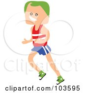Royalty Free RF Clipart Illustration Of A Square Head Boy Running by Prawny