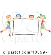 Royalty Free RF Clipart Illustration Of Square Head Children Holding A Sign