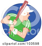 Royalty Free RF Clipart Illustration Of A Baseball Player With A Bat And Helmet In A Blue Circle by Prawny