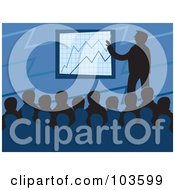 Royalty Free RF Clipart Illustration Of A Silhouetted Board Meeting Over Blue by Prawny