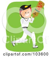 Royalty Free RF Clipart Illustration Of A Square Head Boy Playing Cricket by Prawny