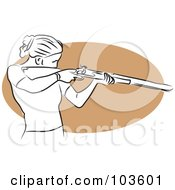 Royalty Free RF Clipart Illustration Of A Woman Shooting A Rifle