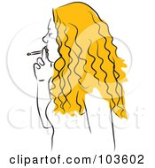 Royalty Free RF Clipart Illustration Of A Blond Woman Smoking by Prawny