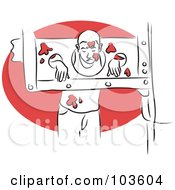 Royalty Free RF Clipart Illustration Of A Man In Stocks