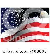 Royalty Free RF Clipart Illustration Of A Bald Eagle Head Over Floating Stars And Stripes