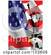 Royalty Free RF Clipart Illustration Of A Bald Eagle Head And Statue Of Liberty Over A Waving American Flag by leonid