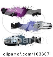 Royalty Free RF Clipart Illustration Of A Digital Collage Of Three Convertible Car Banners