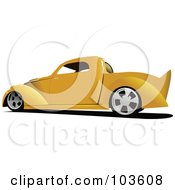 Royalty Free RF Clipart Illustration Of A Vintage Yellow Pickup Truck by leonid