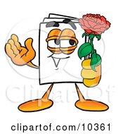 Clipart Picture Of A Paper Mascot Cartoon Character Holding A Red Rose On Valentines Day