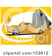 Royalty Free RF Clipart Illustration Of A Vintage Yellow Pickup Truck With A Skyscraper On A Yellow And White Grungy Background by leonid