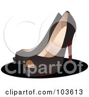Royalty Free RF Clipart Illustration Of A Pair Of Black Open Toed High Heels