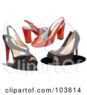 Royalty Free RF Clipart Illustration Of A Digital Collage Of Three Pairs Of Womens High Heels by leonid