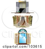 Royalty Free RF Clipart Illustration Of A Digital Collage Of Three Open Windows With Curtains