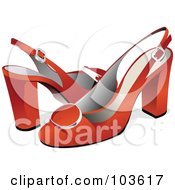 Royalty Free RF Clipart Illustration Of A Red Pair Of High Heels With Ankle Straps by leonid