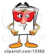 Clipart Picture Of A Paper Mascot Cartoon Character Wearing A Red Mask Over His Face