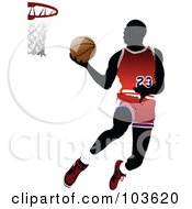Royalty Free RF Clipart Illustration Of A Silhouetted Basketball Player Leaping To The Hoop