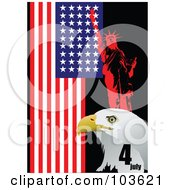 Royalty Free RF Clipart Illustration Of A Red Statue Of Liberty And Bald Eagle Face With An American Flag On Black by leonid