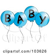 Four Blue Party Balloons Spelling Baby