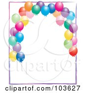 Royalty Free RF Clipart Illustration Of An Oval Frame With Colorful Balloons On White