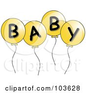 Four Yellow Party Balloons Spelling Baby