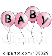 Four Pink Party Balloons Spelling Baby