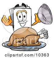 Clipart Picture Of A Paper Mascot Cartoon Character Serving A Thanksgiving Turkey On A Platter