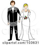 Royalty Free RF Clipart Illustration Of A Blond Bride And Brunette Groom Standing Arm In Arm by Pams Clipart
