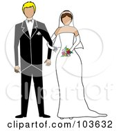 Royalty Free RF Clipart Illustration Of A Brunette Bride And Blond Groom Standing Arm In Arm by Pams Clipart