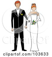 Royalty Free RF Clipart Illustration Of An Irish Bride And Groom Standing Arm In Arm by Pams Clipart