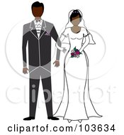 Royalty Free RF Clipart Illustration Of An African American Bride And Groom Standing Arm In Arm