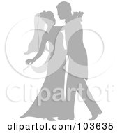 Silhouetted Gray Newlywed Couple Dancing At Their Wedding