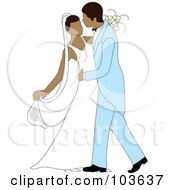 Royalty Free RF Clipart Illustration Of A Hispanic Newlywed Couple Dancing At Their Wedding