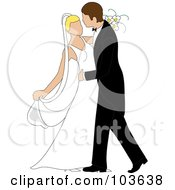 Royalty Free RF Clipart Illustration Of A Caucasian Newlywed Couple Dancing At Their Wedding